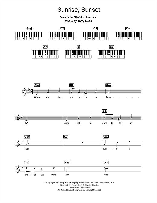 Sunrise, Sunset (from Fiddler On The Roof) Sheet Music