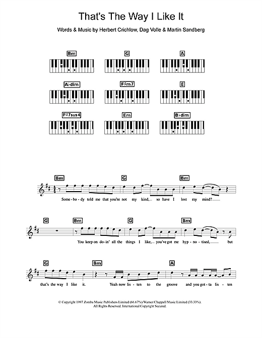 That's The Way I Like It Sheet Music