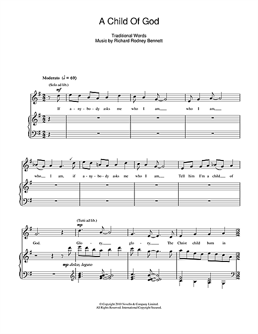 A Child Of God Sheet Music