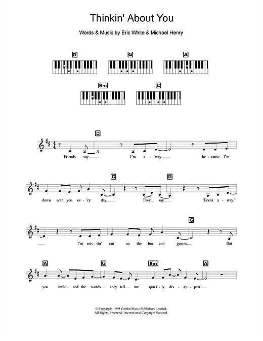 Thinkin' About You Sheet Music