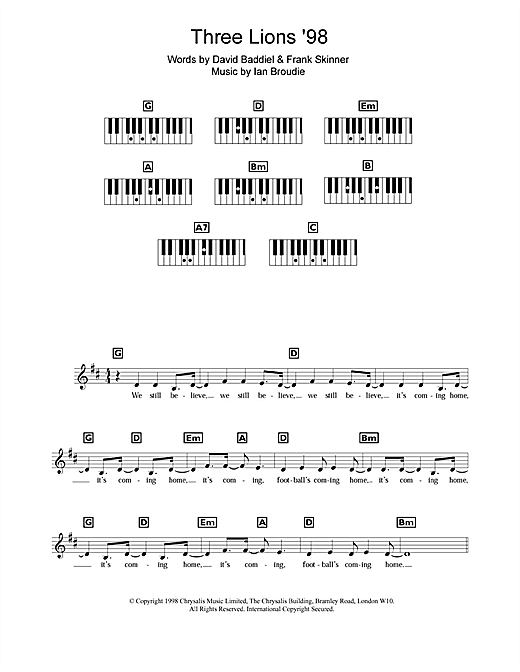 Partition piano Three Lions '98 (England's World Cup '98 Theme) de The Lightning Seeds - Synthétiseur