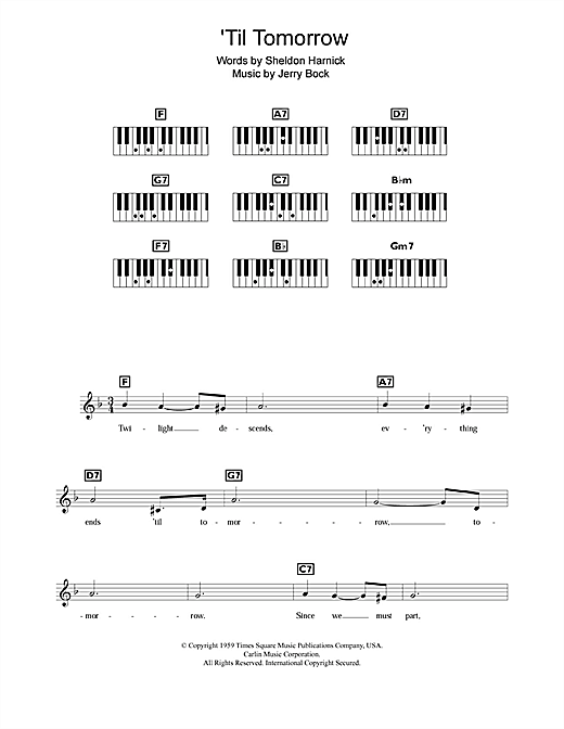 Partition piano 'Til Tomorrow (from Fiorello!) de Jerry Bock - Synthétiseur