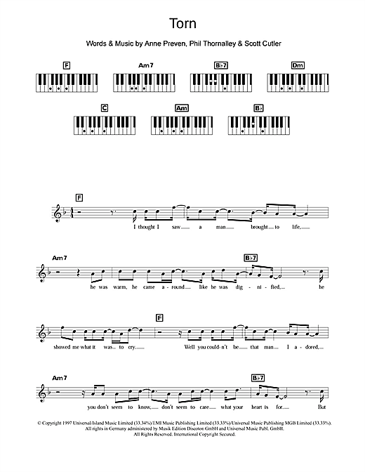 Torn sheet music by Natalie Imbruglia (Keyboard – 109747)