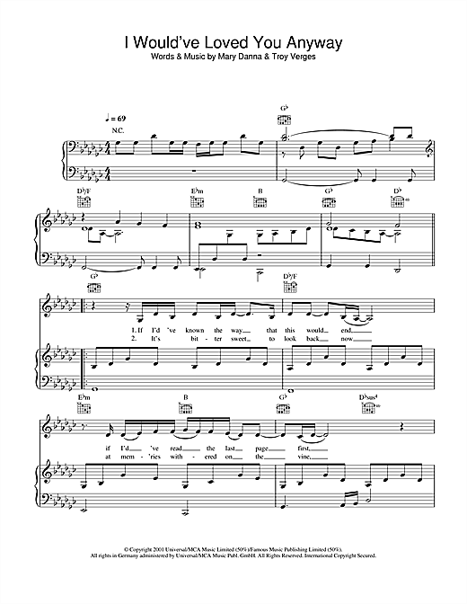 I Would've Loved You Anyway Sheet Music