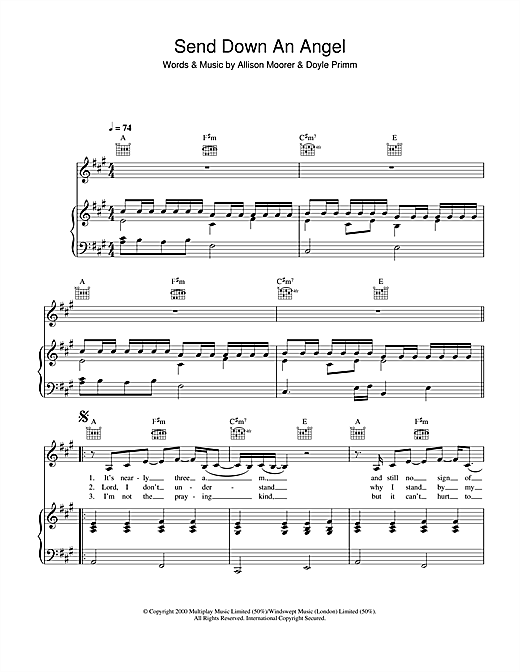 Partition piano Send Down An Angel de Allison Moorer - Piano Voix Guitare