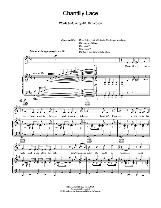 Piano piano tabs great balls of fire : Chantilly Lace sheet music by Jerry Lee Lewis (Piano, Vocal ...