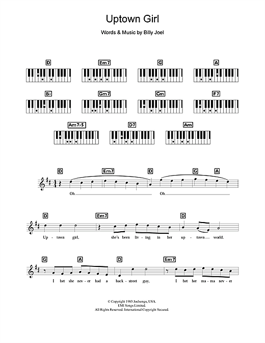Uptown Girl Print Sheet Music Now