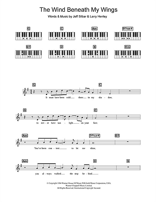 The Wind Beneath My Wings Sheet Music