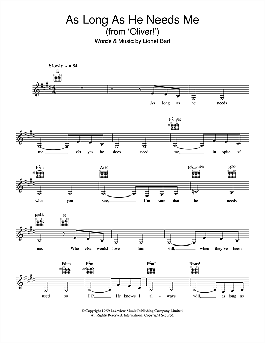 As Long As He Needs Me (from 'Oliver!') Sheet Music