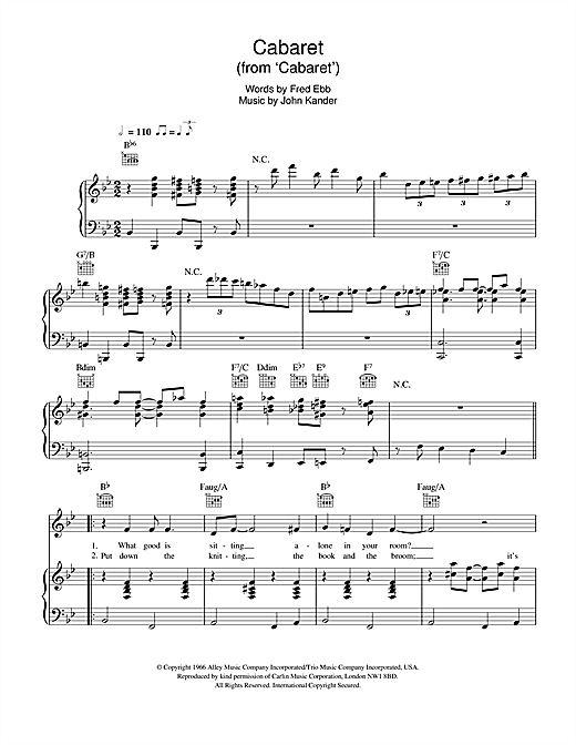 Cabaret (from 'Cabaret') Sheet Music