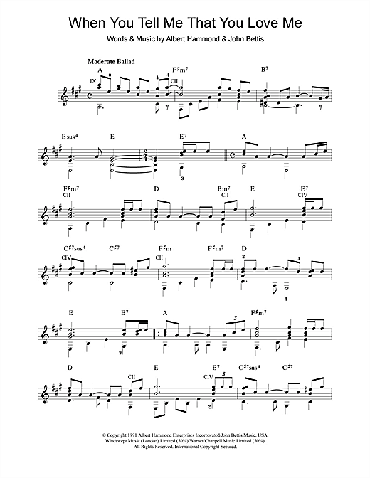 Tablature guitare When You Tell Me That You Love Me de Diana Ross - Guitare