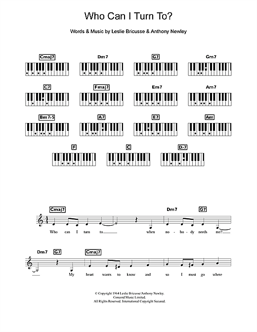 Who Can I Turn To? Sheet Music