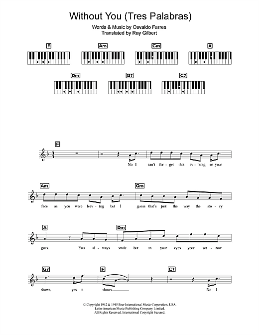 Without You (Tres Palabras) Sheet Music