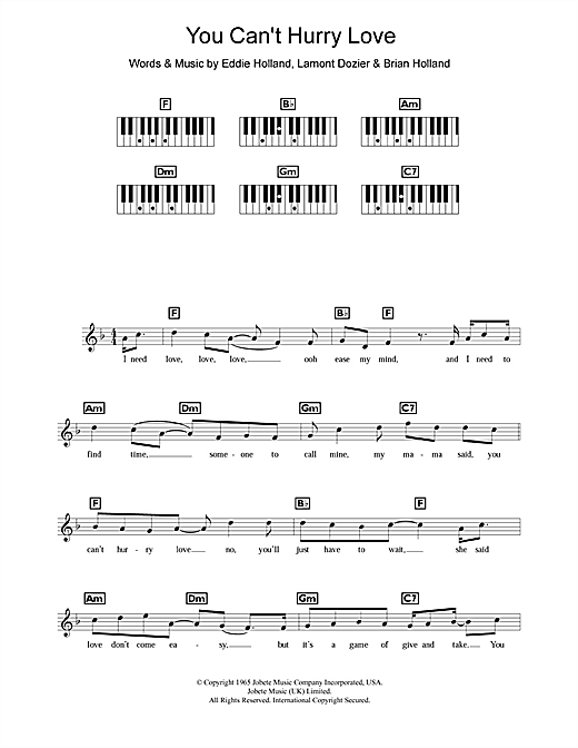 Partition piano You Can't Hurry Love de The Supremes - Synthétiseur