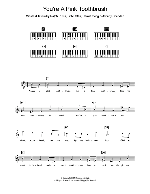 You're A Pink Toothbrush Sheet Music