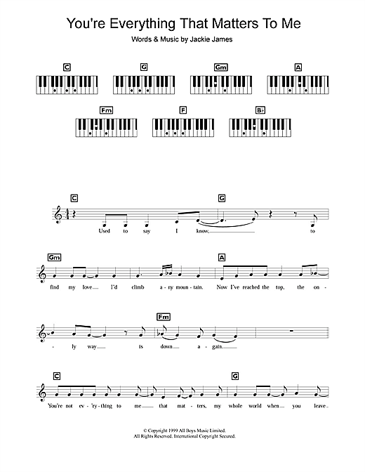 You're Everything That Matters To Me Sheet Music
