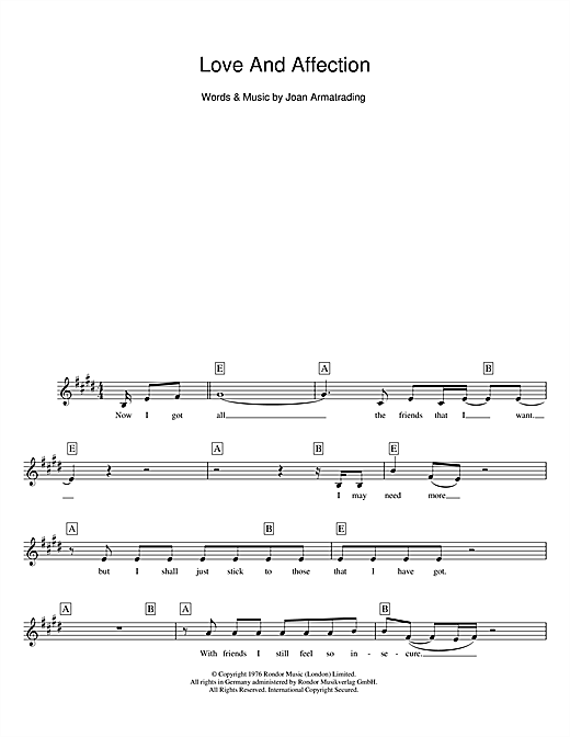 Love And Affection (Lead Sheet / Fake Book)