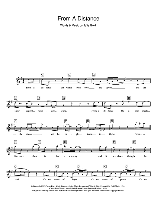 From A Distance (Lead Sheet / Fake Book)