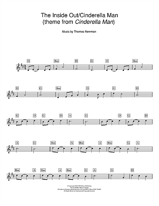 The Inside Out/Cinderella Man (theme from Cinderella Man) sheet ...