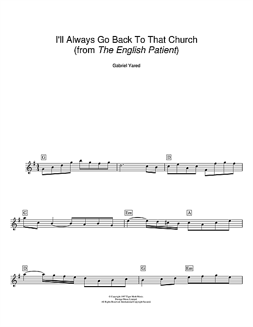 I'll Always Go Back To That Church (from The English Patient) Sheet Music