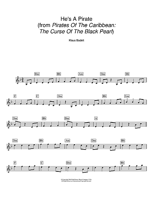 He's A Pirate (from Pirates Of The Caribbean: The Curse Of The Black Pearl) (Lead Sheet / Fake Book)