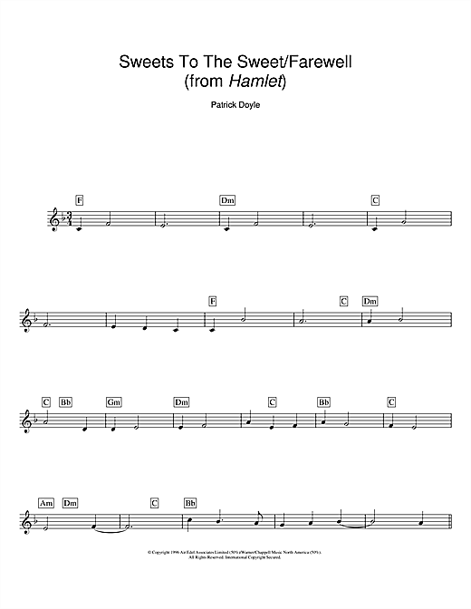 Sweets To The Sweet Farewell From Hamlet Sheet Music By Patrick