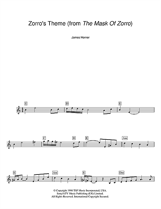 Zorro's Theme (from The Mask Of Zorro) (Lead Sheet / Fake Book)