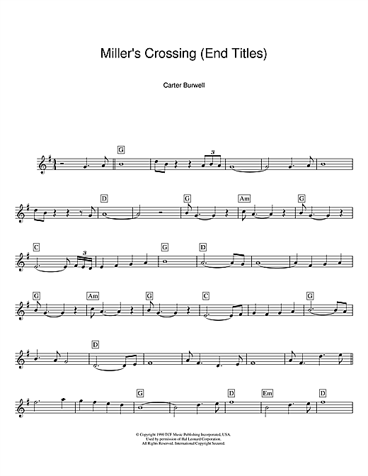 Miller's Crossing (End Titles) (Lead Sheet / Fake Book)