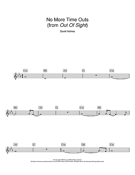 No More Time Outs (from Out Of Sight) Sheet Music