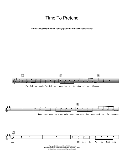 Time To Pretend (Lead Sheet / Fake Book)