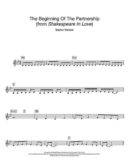 The Beginning Of The Partnership (from Shakespeare In Love) (Lead Sheet / Fake Book)