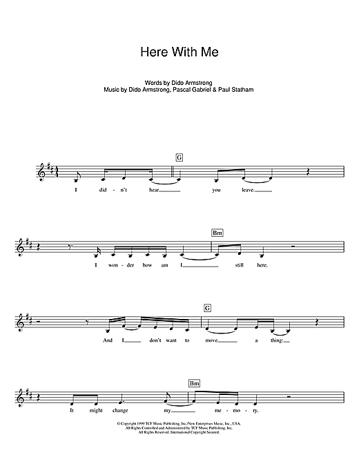 Here With Me (Theme from Roswell) Sheet Music