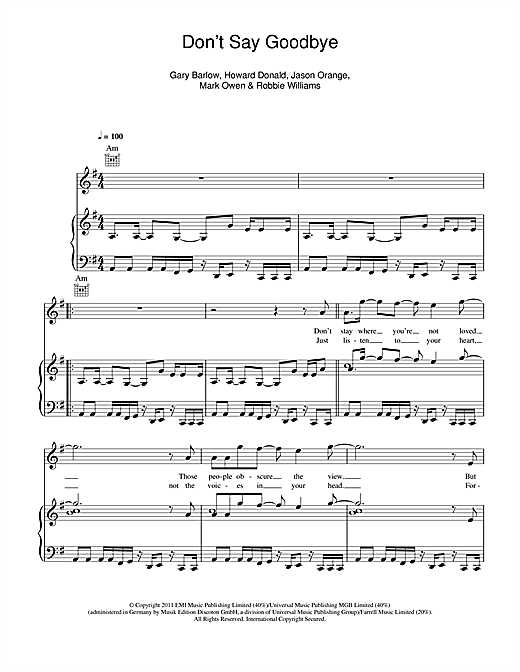 Don't Say Goodbye Sheet Music
