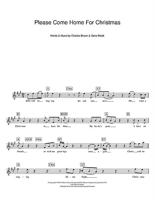 Please Come Home For Christmas chords by Eagles (Melody Line ...
