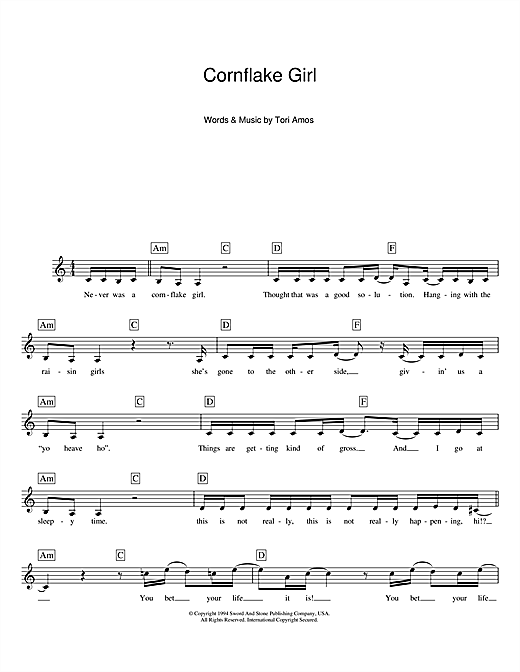 Cornflake Girl Sheet Music