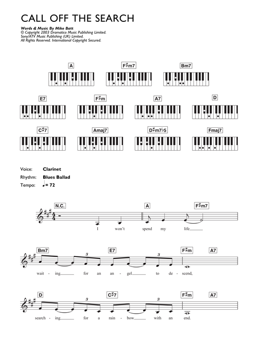 Partition piano Call Off The Search de Katie Melua - Synthétiseur