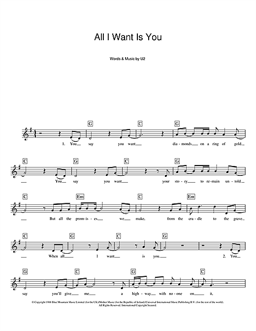 Partition piano All I Want Is You de U2 - Synthétiseur