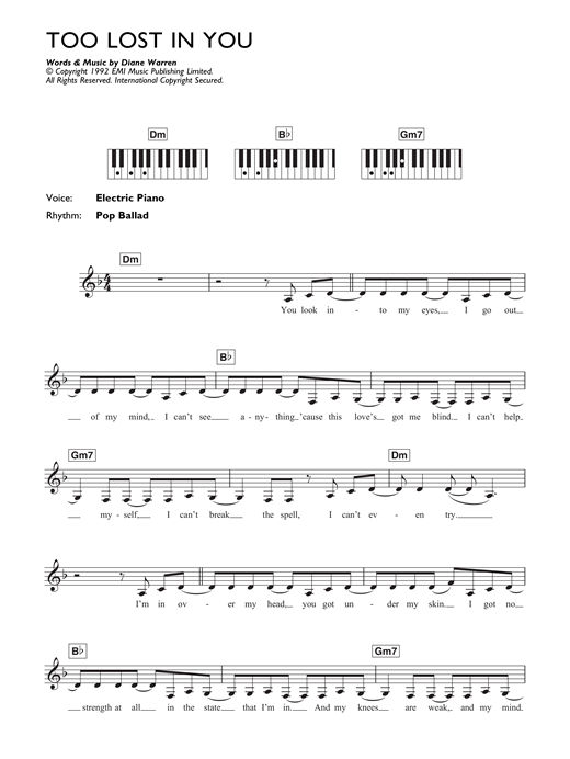 Too Lost In You Sheet Music