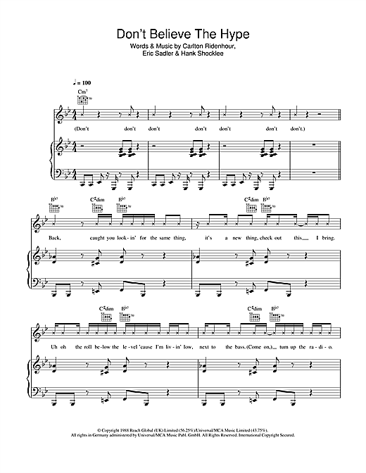 Don't Believe The Hype Sheet Music