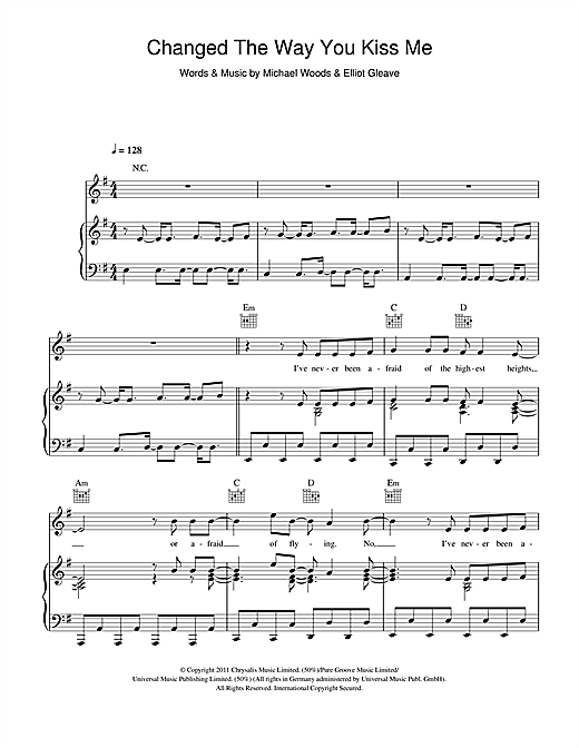 Changed The Way You Kiss Me Sheet Music