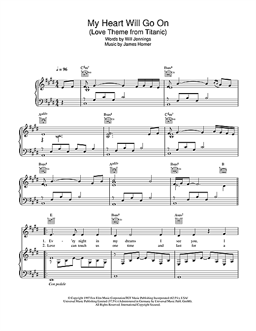 My Heart Will Go On (Love Theme from Titanic) Sheet Music