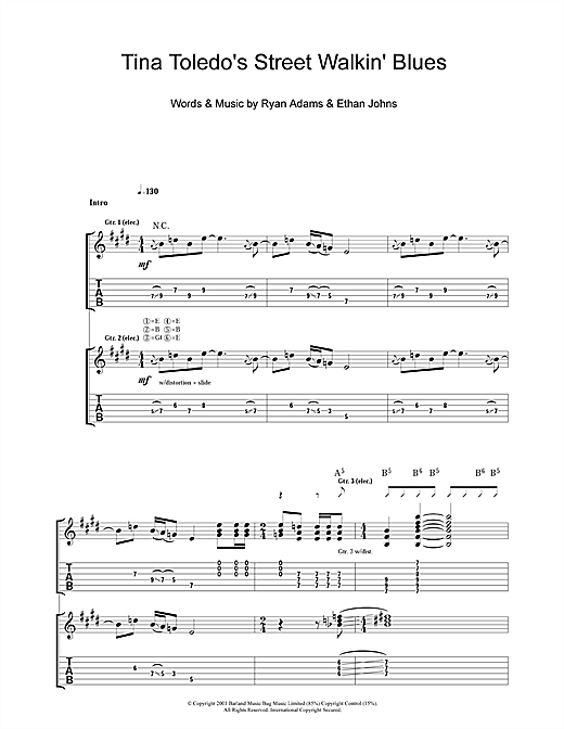 Tablature guitare Tina Toledo's Street Walkin' Blues de Ryan Adams - Tablature Guitare