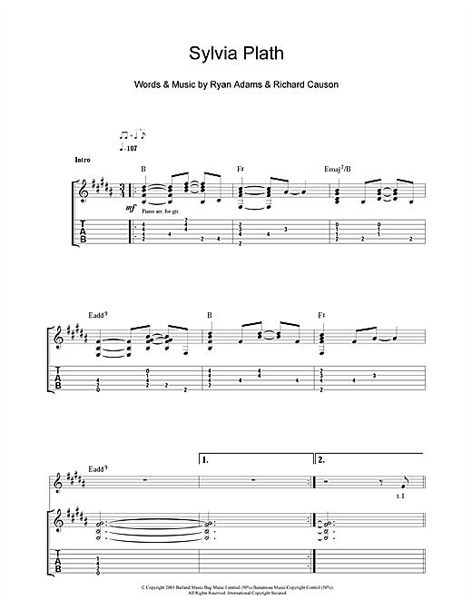 Tablature guitare Sylvia Plath de Ryan Adams - Tablature Guitare