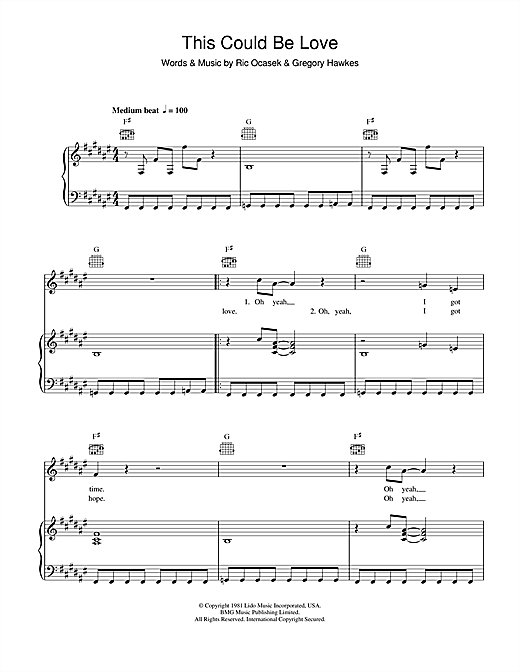 Partition piano This Could Be Love de The Cars - Piano Voix Guitare (Mélodie Main Droite)