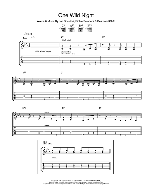 One Wild Night Sheet Music