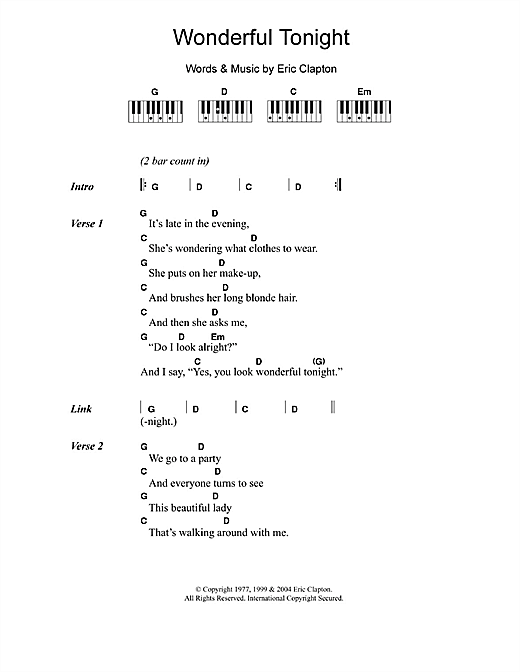 Wonderful Tonight sheet music by Eric Clapton (Lyrics u0026 Piano Chords u2013 109995)
