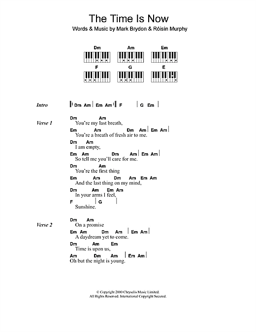 The Time Is Now sheet music by Moloko (Lyrics & Piano Chords – 110025)