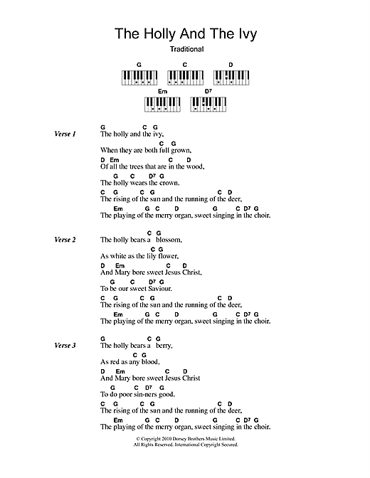 The Holly And The Ivy Sheet Music By Christmas Carol Lyrics Piano