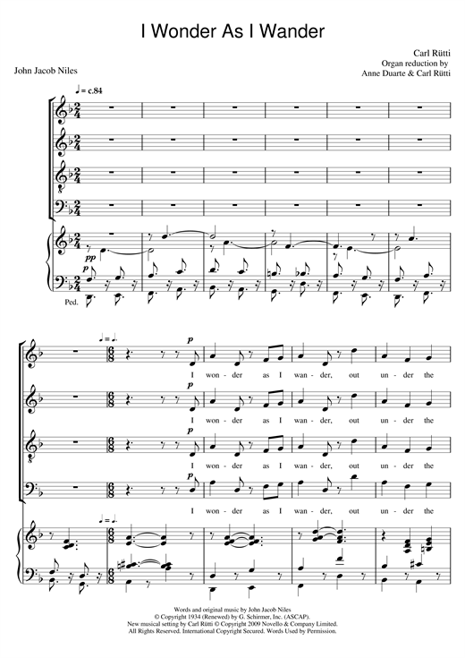 Partition chorale I Wonder As I Wander de Carl Rütti - SATB