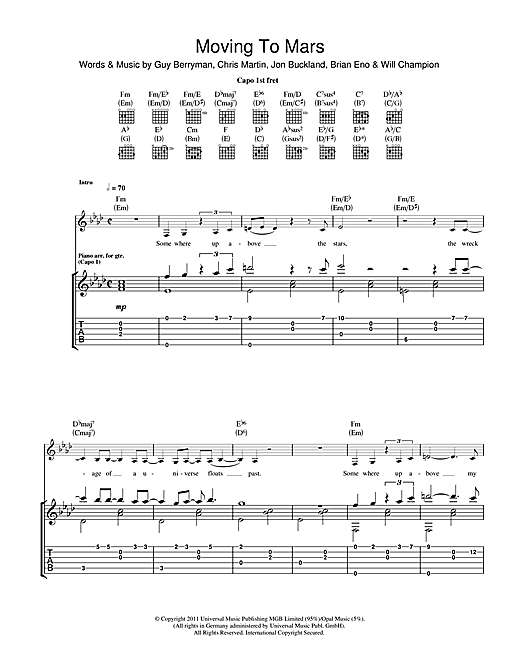 Moving To Mars Sheet Music